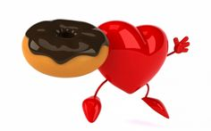 Good Morning! - dessert, chocolate, love, heart, donut, morning, fiood, valentine, red, card