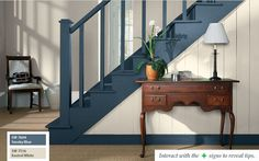 Great idea to paint the stairs and trim a different color than white.