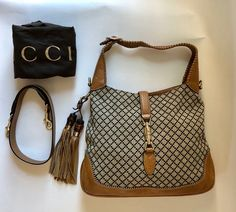 45c7d53816f834 Gucci Jackie Beige Diamante Canvas & Leather Shoulder Bag 82% off retail