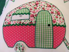 Caravan applique cushion cover, pink bunting cute