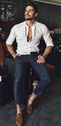 b9863eee8bf1  marianodivaio - with a summer business casual combo with a white banded  collar button up Fall outfit idea with a light wash denim jacket black ...