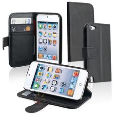 Leather Black Wallet Cover Case w/ Stand Card Holder For iPod Touch 5 5th Gen 5G
