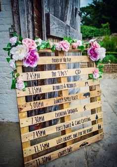 Is This The Most Colourful Barn Wedding We've Ever Seen? Planning an order of the day sign with a rustic look? How about upcyling an old pallet, like the one pictured here, for a DIY timeline of your day that looks beautiful and won't break the budget! Wedding Planning Tips, Budget Wedding, Plan Your Wedding, Order Of The Day Wedding, Wedding Schedule, Wedding Table Plans, Wedding Day Timeline, Wedding Ceremony Order, Autumn Wedding Ideas On A Budget