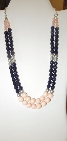 Pink and Navy Blue Color Block Necklace Accented by KRsKreations, $45.00