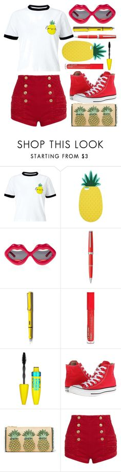 """""""#359 Pen Pineapple Apple Pen"""" by mayblooms ❤ liked on Polyvore featuring Miss Selfridge, Linda Farrow, Montblanc, Lamy, L.A. Colors, Maybelline, Converse, Edie Parker, Pierre Balmain and coloreddenim"""