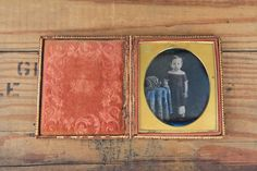 1840s Sixth Plate Daguerreotype Portrait of A Young Girl in Patterned Red Dress | eBay