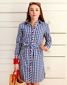 Kayce Hughes blue and white checked dress with red buttons.  Perfect for summer and the 4th.
