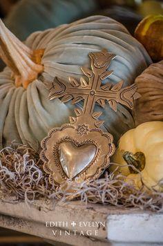 Vintage Sacred Heart Ornament, Wall Hanger, Ex Voto, Cross, Religious