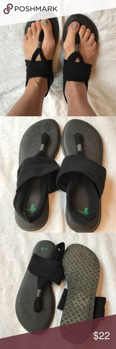 Sanuk sling yoga mat sandals flip flops 10 EUC Sanuk sling yoga mat sandals flip flops 10 EUC  these are super comfy and I love them I am just ready for something new! Black Sanuk Shoes Sandals