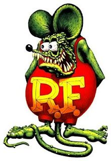 """Rat Fink is one of the several hot-rod characters created by one of the originators of Kustom Kulture , Ed """"Big Daddy"""" Roth . Rat Fink, Ed Roth Art, Garage Art, Lowbrow Art, Pinstriping, Big Daddy, Automotive Art, Cute Pins, Lowrider"""