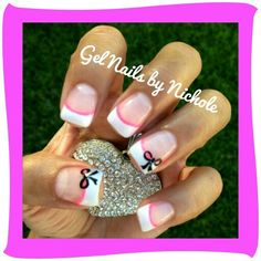 Gel Nails/ Light Elegance: perfct white French, neon pink and black gel paint nail art