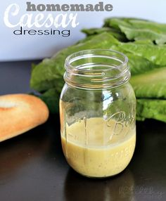A homemade Caesar Dressing recipe that is egg free and anchovy free, but still has the same great taste! You'll love this version of Caesar dressing on your salads. Salad Dressing Recipes, Easy Salad Recipes, Easy Salads, Eggless Caesar Salad Dressing Recipe, Vegan Caesar Dressing, Vinaigrette Dressing, Ranch Dressing, Parmesan, Ceasar Salad