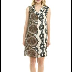 JUST INNWT Bellino Shift Dress-Size L NWT Sleeveless Bellino Print Dress. Lightweight and perfect for the upcoming weather. Dress is done with a cream base with shades of black, brown, tan. Faux cowl neck effect. Adorable.  I have this in S, M, L, XL. 100% polyester.  This listing is for the size Large Bellino Clothing Dresses
