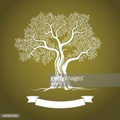 Olive tree. Olive oil. Vector olive tree. For labels, pack.