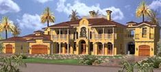 Florida Style House Plans - 7883 Square Foot Home , 2 Story, 7 Bedroom and 8 Bath, 3 Garage Stalls by Monster House Plans - Plan 37-249