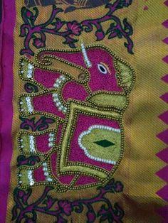 Peacock Blouse Designs, Saree Kuchu Designs, Kids Blouse Designs, Bridal Blouse Designs, Hand Designs, Zardozi Embroidery, Hand Embroidery Dress, Embroidery Fashion, Hand Embroidery Designs