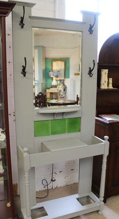 Painted Arts and Crafts Solid Oak Green Tiled Hall Stand with Mirror Cast Iron Coat Hooks, Key Cabinet, Hall Stand, Solid Oak, Arts And Crafts, The Originals, Antiques, Green, Furniture