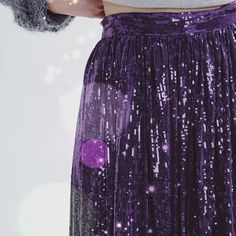 Friday Night. Just another reason  to shine!  Ft. The sequined ultra violet, midi skirt.Also available in Gold-black  #sequins #fashion #purple #ultraviolet #sequinskirt #xmaswomenclothing