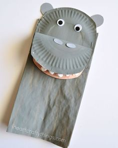 I am seriously obsessed with paper bag crafts! I love how paper bags are such a perfect base for a myriad of crafts and I love how afterwards the crafts are able to couple as Hippo Crafts, Jungle Crafts, Zoo Crafts, Preschool Christmas Crafts, Puppet Crafts, Fish Crafts, Animal Crafts For Kids, Toddler Crafts, Children Crafts