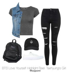 """""""BTS Love Yourself Highlight Reel: Taehyung's Girl"""" by kapparel ❤ liked on Polyvore featuring WearAll, Topshop, LE3NO, Alyx and Converse"""