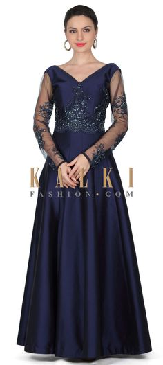 Buy this Navy blue gown with embroidered bodice only on Kalki