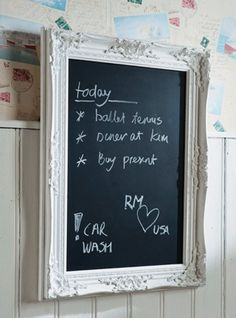 chalkboard in a frame, saw this as a magnet on a fridge so much cuter than a dry erase board