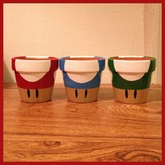 Super Mario Mushroom Planting Pots Set of 3 by K8BitHero on Etsy, $25.00