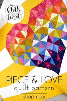 Set colorful pieces of your heart to flight amid peaceful stripes of background fabric. Triangles of varied hues and values create this faceted heart. Perfect as a throw or wall hanging, plus bon… Rag Quilt, Scrappy Quilts, Easy Quilts, Mini Quilts, Half Square Triangle Quilts, Square Quilt, Quilting Projects, Quilting Designs, Scrap Quilt Patterns