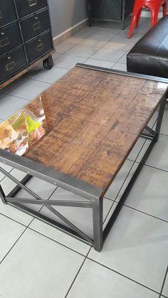Repurposed pallet wood and steel Coffee table