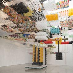 Skyfarm Fortress (Made of 30,000 paper kites) by artist Jacob Hashimoto at Mary Boone