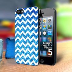 TP169 Chevron blue glitter Iphone 5 case | TheYudiCase - Accessories on ArtFire