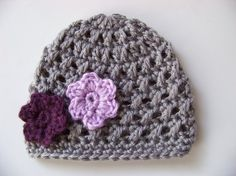 Baby Girl Crochet Beanie Hat Gray with Purple Flowers 0 to 3 months via Etsy