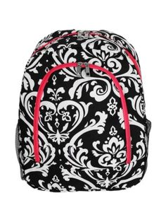 $13.75 Damask Large Backpack with Hot Pink Trim