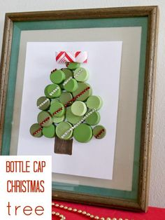DIY recycled bottle cap Christmas decorations