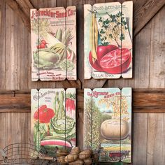 Four wall plaques with vegetable motifs. #vintage charme for your garden hut or kitchen.