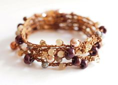 Brown Pearl and Crystal Bohemian Crochet Wrap Bracelet / Necklace / Anklet on Etsy, $30.25
