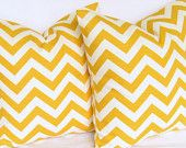Yellow zigzag Pillow Covers pair TWO 16x16 inch cotton slub modern geometric same fabric front and back FREE SHIP. $34.50, via Etsy.