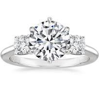 Three Stone Catalina Diamond Engagement Ring - 18K White Gold