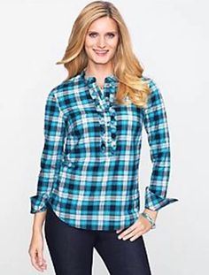 NWT TALBOTS LADYS WOMENS COTTON MULTI PLAID LONG SLEEVE TUNIC TOP SIZE 8 #Talbots #Tunic #Casual