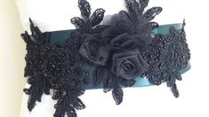 wedding belt, Sash, Mommy to Be Sash, bridal belt, emerald green satin,handmade,lace black flowers,wedding belt  Waist Bride Belt, Wedding Sash Belt, Wedding Gloves, Wedding Belts, The Wedding Date, Free Wedding, Flower Belt, Bride Accessories, Black Flowers