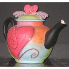 I Heart Teapots Ceramic Art by Double Creek Pottery - I Heart Teapots Fine Art Prints and Posters for Sale