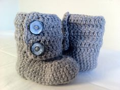 Crochet Ugg Ankle Boots Baby Booties in Grey with by SnJCrochet, $12.00