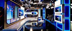 Explore photos of Sportsnet TV set design in this interactive gallery of the studio. Tv Set Design, Stage Design, News Studio, New Set, Studio Design, Gallery, Studios, Sport, Entertainment