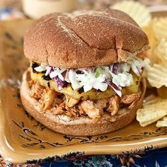 Hawaiian BBQ Chicken Sandwiches - and, a super easy coleslaw recipe.