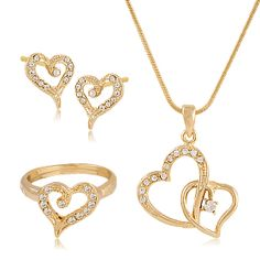 Buy Milano 18K Gold Plated Duel Heart Shape Pendant Set with Crystal Stones, 241268X at 79 AED - AWOK Online Store