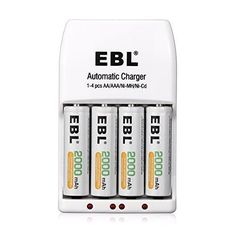 EBL 4 Pack AA 2000mAh Ni-MH Rechargeable Batteries with 4 Bay Smart AA AAA Battery Charger Battery Case included