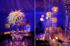 Cascading crystals and white rose centerpiece from Jackie and Jake Long's reception. Wedding by Tiffany Cook Events