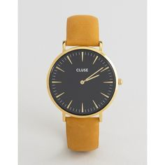 CLUSE La Boheme Gold Black & Mustard Leather Watch CL18420 (€88) ❤ liked on Polyvore featuring jewelry, watches, gold, mustard jewelry, boho watches, boho style jewelry, bohemian jewellery and boho jewellery