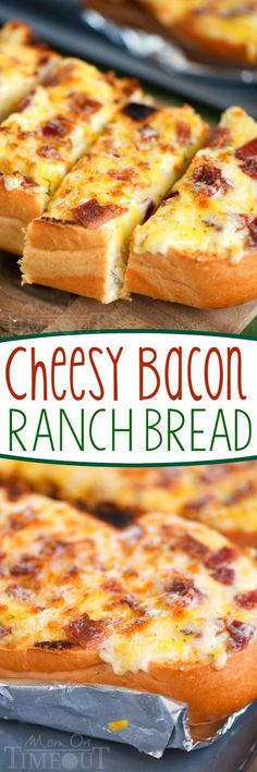I've put all your favorites together in this fantastic and easy Cheesy Bacon Ranch Bread! Make it in the oven or on grill - it's your choice! A tasty addition to game day or any meal! Try making with Jimmy John's Day Old French Bread Bread Recipes, Cooking Recipes, Cheesy Recipes, Potato Recipes, Casserole Recipes, Pasta Recipes, Crockpot Recipes, Soup Recipes, Vegetarian Recipes