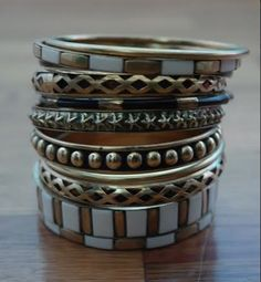 Make A Statement w/ this Ivory and Gold Studded Bangle Set! http://glamplaza.com/index.php/women-jewelry/women-bangles.html